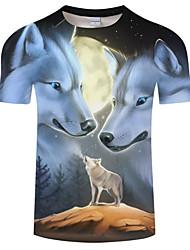 cheap -Men's Daily Plus Size T-shirt - Animal Wolf, Print Round Neck Black / Short Sleeve / Summer