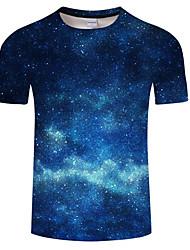 cheap -Men's Daily Plus Size T-shirt - Galaxy Print Round Neck Blue / Short Sleeve / Summer
