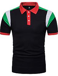 cheap -Men's Daily Street chic Polo Shirt Collar Green / Short Sleeve / Spring / Summer