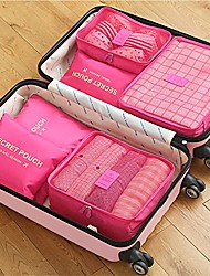 cheap -6 sets Travel Bag Travel Organizer Travel Luggage Organizer / Packing Organizer Large Capacity Waterproof Portable Dust Proof Oxford cloth For Travel Bras Clothes / Durable / Double Sided Zipper