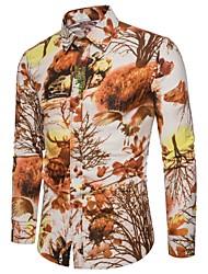 cheap -Men's Daily Plus Size Linen Shirt Black / Long Sleeve