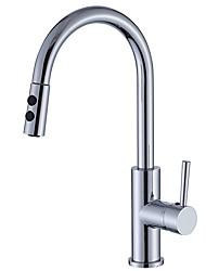 cheap -Kitchen faucet - Single Handle One Hole Chrome Centerset Contemporary / Ordinary Kitchen Taps / Brass / CUPC / UPC