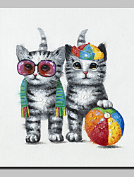 cheap -Mintura® Hand-Painted Modern Abstract Animal Fashion Cat Oil Painting On Canvas Wall Art Picture For Home Decoration Ready To Hang