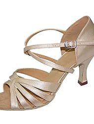 cheap -Women's Dance Shoes Satin Latin Shoes Sandal / Heel Customized Heel Customizable Camel / Professional