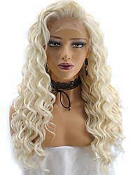 cheap -Synthetic Wig Kinky Curly / Deep Wave Blonde Synthetic Hair Natural Hairline / African American Wig Blonde Wig Lace Front