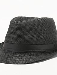 Недорогие -Муж. Винтаж Шляпа от солнца Хлопок,Однотонный Лето Белый Черный Светло-коричневый