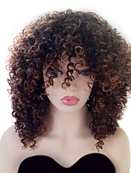 cheap -Synthetic Wig Curly Curly With Bangs Wig Medium Length Ombre Black / Medium Auburn Synthetic Hair Women's Highlighted / Balayage Hair With Bangs Brown