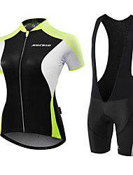 cheap -Malciklo Women's Short Sleeve Cycling Jersey with Bib Shorts Pink White / Black Black / Green Solid Color Bike Jersey Breathable Anatomic Design Sweat-wicking Sports Polyester Spandex Coolmax® Solid