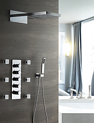 cheap -Shower Faucet Set - Handshower Included Thermostatic Rain Shower Contemporary Chrome Wall Mounted Ceramic Valve Bath Shower Mixer Taps / Brass