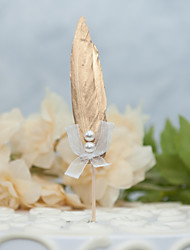 cheap -Cake Topper Fantacy Wedding Handmade Imitation Pearl Feathers Wedding Party with Feather Faux Pearl Ribbons 1 OPP