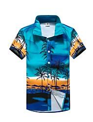 cheap -Men's Sports Holiday Shirt - Geometric Blue / Short Sleeve / Summer