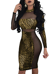 cheap -Women's Party Club Skinny Sheath Dress - Striped Mesh High Waist Spring Gold M L XL / Sexy