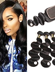 cheap -3 Bundles with Closure Brazilian Hair Body Wave Remy Human Hair 100% Remy Hair Weave Bundles 345 g Natural Color Hair Weaves / Hair Bulk Human Hair Extensions 8-28 inch Natural Color Natural Black