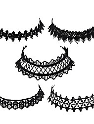 cheap -Women's Choker Necklace Ladies Basic Gothic Fashion Lace Black Necklace Jewelry 5pcs For Daily New Year