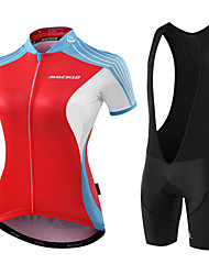 cheap -Malciklo Women's Short Sleeve Cycling Jersey with Bib Shorts Bamboo-carbon Fiber Coolmax® Spandex Red / White Black / Red Geometic Leaf Bike Jersey Bib Tights Padded Shorts / Chamois Breathable