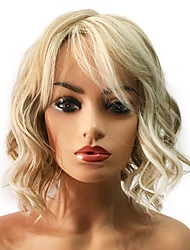 cheap -Synthetic Wig Curly Curly Layered Haircut Wig Blonde Medium Length Light golden Synthetic Hair Women's Highlighted / Balayage Hair Blonde StrongBeauty