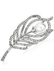 cheap -Women's Cubic Zirconia Brooches Dainty Ladies Clips Classic Imitation Pearl Zircon Brooch Jewelry White For Engagement Prom Promise