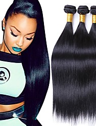 cheap -3 Bundles Brazilian Hair Straight Remy Human Hair Natural Color Hair Weaves / Hair Bulk 8-28 inch Natural Black Human Hair Weaves Human Hair Extensions / 10A