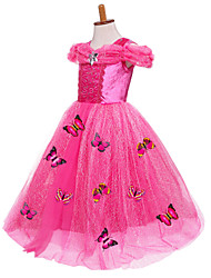 cheap -Princess Cinderella Fairytale Dress Party Costume Kid's Ball Gown Slip Mesh Birthday Christmas Halloween Masquerade Festival / Holiday Silk / Cotton Blend Yellow / Blue / Pink Carnival Costumes Color