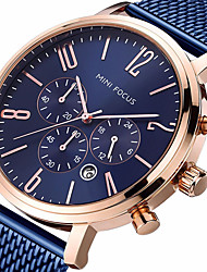 cheap -MINI FOCUS Men's Sport Watch Aviation Watch Quartz Luxury Calendar / date / day Stainless Steel Black / Blue / Brown Analog - Black / Rose Gold Black Blue / Japanese / Stopwatch / Large Dial