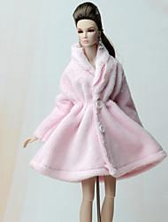 abordables -Tenue de poupée Manteau de poupée Manteaux Pour Barbie Rose Pale Flanelle Toison Polyester Manteau Pour Fille de Jouets DIY