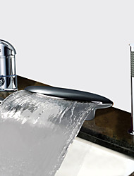 cheap -Bathtub Faucet - Contemporary Chrome Tub And Shower Ceramic Valve Bath Shower Mixer Taps / Two Handles Three Holes