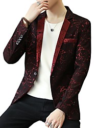 cheap -Men's Party / Daily / Work Spring / Fall Plus Size Regular Blazer, Print Shirt Collar Long Sleeve Acrylic / Polyester Blue / Black / Red / Business Casual