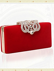 cheap -Women's Crystals / Chain Velvet Evening Bag Wedding Bags Black / Purple / Red