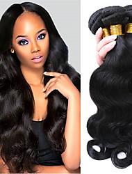 Недорогие -3 Связки Бразильские волосы Естественные кудри Не подвергавшиеся окрашиванию Человека ткет Волосы Ткет человеческих волос Расширения человеческих волос / 10A