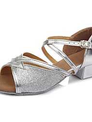 cheap -Dance Shoes Faux Leather Latin Shoes Buckle Sandal / Heel Chunky Heel Customizable Silver