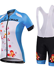 cheap -Malciklo Women's Short Sleeve Cycling Jersey with Bib Shorts Black / Blue White+Sky Blue Butterfly Bike Jersey Bib Tights Clothing Suit Breathable Quick Dry Anatomic Design Reflective Strips Back