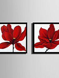 cheap -Framed Canvas Framed Set - Floral / Botanical Plastic Illustration Wall Art