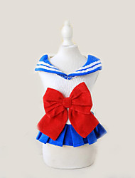 cheap -Dogs Dress Dog Clothes Striped Bowknot Blue Pink Cotton Costume For Spring &  Fall Summer Women's Sweet Style