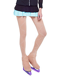 cheap -Over The Boot Figure Skating Tights Women's Girls' Ice Skating Leggings Khaki Spandex Stretchy Competition Skating Wear Solid Colored Sequin Figure Skating