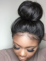 cheap -Human Hair Glueless Lace Front Wig style Brazilian Hair Straight Black Wig 130% Density with Baby Hair Natural Hairline African American Wig 100% Virgin Unprocessed Women's Human Hair Lace Wig EVA