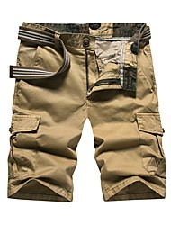 cheap -Men's Daily Straight / Chinos / Shorts Pants - Solid Colored Cotton Summer Black Army Green Khaki 34 36 38