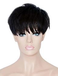Недорогие -Человеческие волосы Парик Короткие Прямой Стрижка под мальчика С чёлкой Прямой силуэт Короткие Glueless Машинное плетение Жен. Черный
