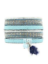 cheap -Women's Wrap Bracelet Leather Bracelet Ladies Bohemian Boho Leather Bracelet Jewelry Blue / Pink For Causal Holiday / Fur
