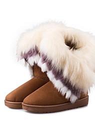 cheap -Women's Boots Flat Heel Fur / Fleece Mid-Calf Boots Fashion Boots Winter Brown / Green / Pink / EU39