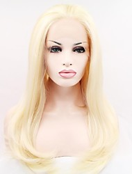 cheap -Synthetic Lace Front Wig Straight Blonde Synthetic Hair Blonde Wig Women's Mid Length Lace Front