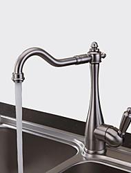 Недорогие -смеситель для кухни - никелированная шлифованная штанга с одним отверстием / сборная палуба, традиционная / с одной ручкой, одно отверстие