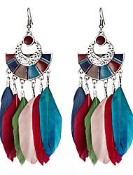 cheap -Women's Drop Earrings Dangle Earrings Feather Vintage Bohemian Native American Earrings Jewelry Black / Dark Blue / Rainbow For Gift Evening Party