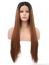 cheap -Synthetic Lace Front Wig Straight Straight Lace Front Wig Long Ombre Black / Medium Auburn Synthetic Hair Women's Brown