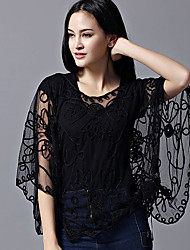 cheap -Women's Daily Work Active Batwing Sleeve Wrap - Solid Colored Lace / Jacquard / Embroidered Black / Summer / Fall / Sheer