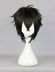cheap -Cosplay Wigs Men's Women's 14 inch Heat Resistant Fiber Black Anime