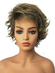 cheap -Synthetic Wig Straight Straight Pixie Cut Layered Haircut Wig Blonde 13cm(Approx5inch) Blonde Synthetic Hair Highlighted / Balayage Hair Blonde StrongBeauty