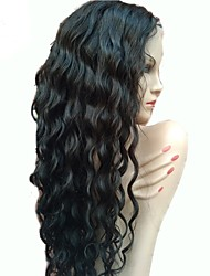 cheap -Virgin Human Hair Human Hair Glueless Lace Front Lace Front Wig style Brazilian Hair Wavy Water Wave Wig 130% Density with Baby Hair Natural Hairline 100% Virgin Unprocessed Women's Medium Length Long