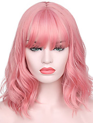 cheap -Synthetic Wig Water Wave Kardashian Water Wave With Bangs Wig Pink Short Brown Dark Blonde Golden Blonde Blonde Pink Synthetic Hair Women's Natural Hairline With Bangs Pink