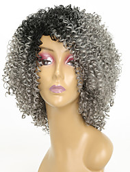 cheap -Synthetic Wig Kinky Curly Kinky Curly Wig 8-11inch Grey Synthetic Hair African American Wig Gray