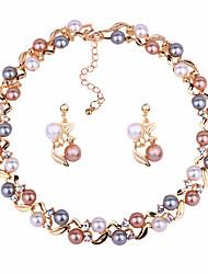 abordables -Femme Parure de Bijoux Imitation de perle Des boucles d'oreilles Bijoux Dorée / Argent Pour Soirée Valentin / Boucles d'Oreilles